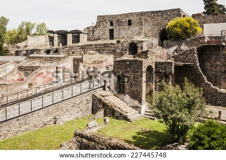 POMPEI APRIL 28: view of the Roman archeologic ruins of the lost city of Pompeii on April 28, 2013 in Pompeii, Italy - stock photo