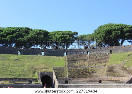 Pompei, Italy, August 9 2014: The Amphitheatre of Pompeii is the oldest surviving Roman amphitheatre. It is located in the ancient Roman city of Pompeii