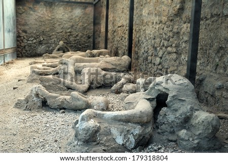 Pompeian excavations - stock photo