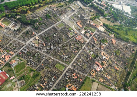 Pompeii, aerial view, naples, archeologic ruins of Pompeii in Italy - stock photo