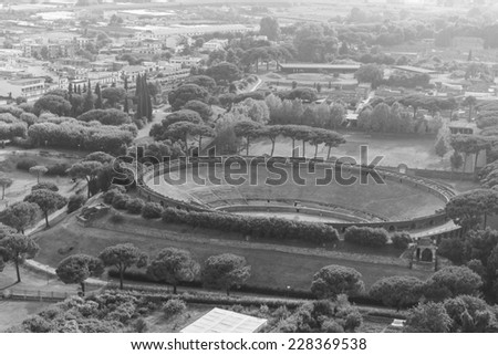 pompeii amphitheater, aerial view, naples, archeologic ruins of Pompeii in Italy  - stock photo