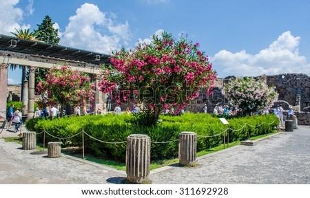 POMPEII, ITALY, JUNE 28, 2014: people are strolling through one of the few maintained gardens inside of the pompeii ruins complex near italian naples. - stock photo