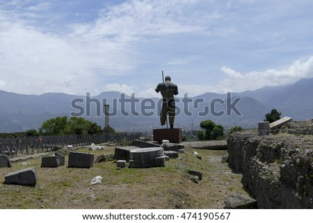 POMPEII, ITALY - may 25, 2016: Famous antique ruins of town Pompeii, Italy. Pompeii was destroyed and buried with ash and pumice after Vesuvius eruption in 79 AD.