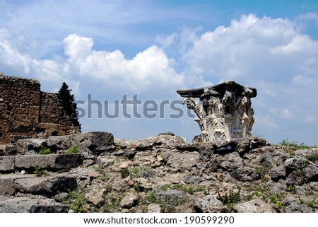 POMPEII, ITALY, MAY 10, 2012 - One of the preserved column capitals discovered by buried in Pompeii - stock photo