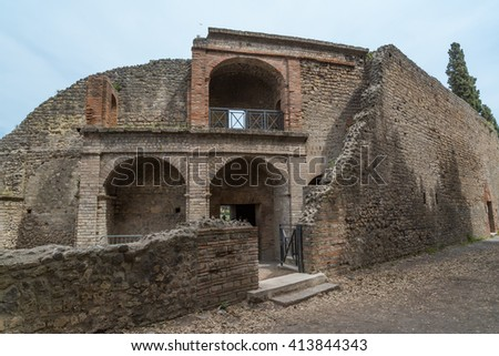 Pompeii, Ruins of ancient city Pompeii. Roman city Beautiful Panorama Aerial View near Naples, buried under a layer of volcanic ash by the eruption of Mount Vesuvius on 79BC