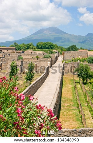 Pompeii street - stock photo