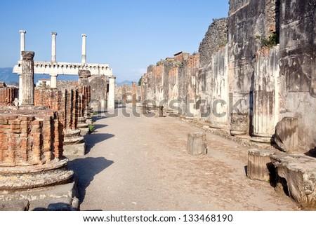 Pompeii. Town square - stock photo
