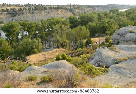 Pompeys Pillar National Monument and Yellowstone River - stock photo