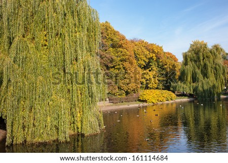 Pond and autumn foliage of the Saxon Garden in Warsaw, Poland. - stock photo