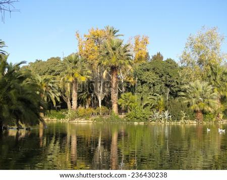 Pond Ciutadella Park. Garden historic city of Barcelona, Catalonia, Spain. - stock photo