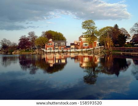 Pond House - stock photo