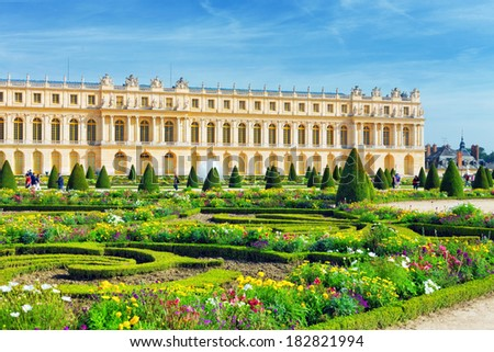 Pond in front of the Royal residence at Versailles near Paris in France - stock photo