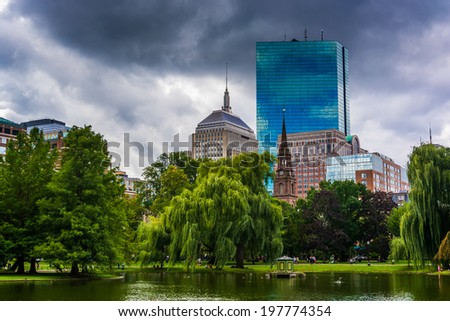 Pond in the Public Garden and buildings in Boston, Massachusetts. - stock photo
