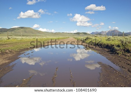 Pond in western mountains in Centennial Valley near Lakeview, Montana - stock photo
