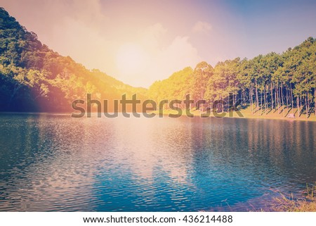 Pond water and sunrise with vintage effect. - stock photo
