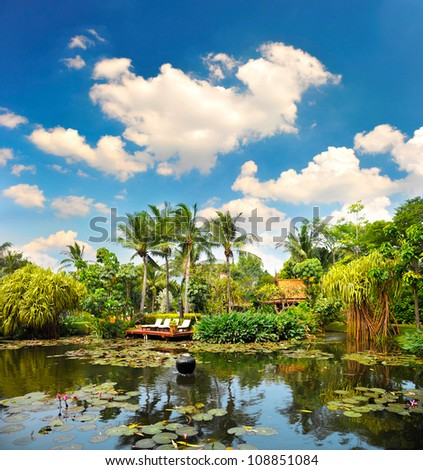 pond with lush tropical plants over cloudy blue sky. luxury resort