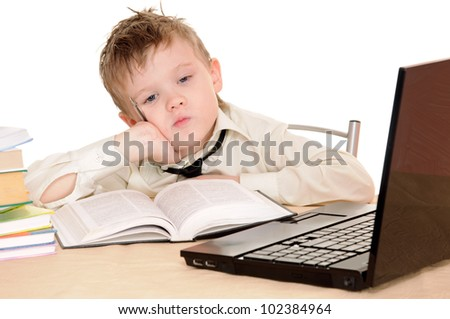 Ponderer pupil with laptop isolated on the white background - stock photo