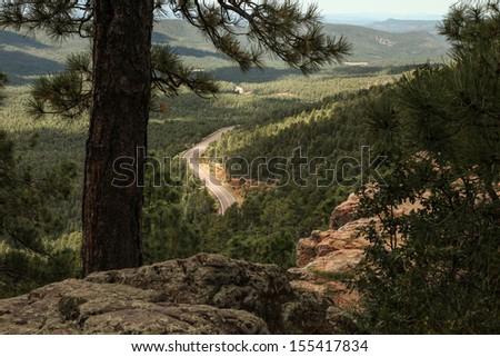 Ponderosa Pines in Mazatzal area of high scenic Mogollon Rim with winding highway below,near Payson, Arizona, USA/High Desert Ponderosa Forest Landscape in USA/Sitgreaves National Forest, Arizona, USA - stock photo