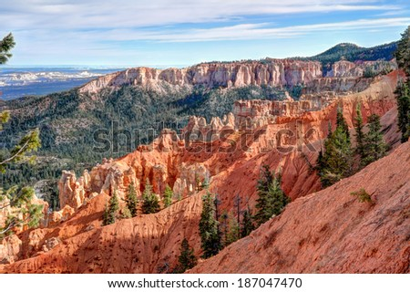 Ponderosa Point, at Bryce Canyon National Park, Utah, is one of the several natural amphitheaters carved out of eastern edge of the Paunsaugunt Plateau.  - stock photo