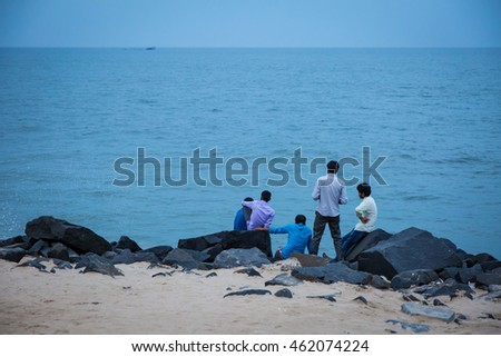 PONDICHERRY, INDIA - JUNE 28, 2016: Evening life by the sea promenade on 28th June 2016 in Pondicherry, India