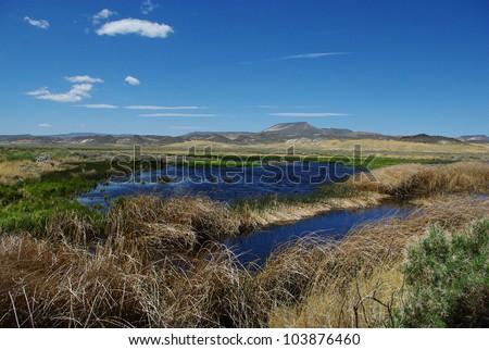 Ponds in the desert near Big Spring Reservoir, Sheldon National Wildlife Refuge, Nevada - stock photo