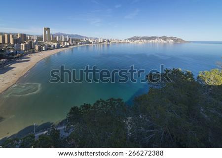 Poniente beach (Benidorm, Alicante - Spain). - stock photo