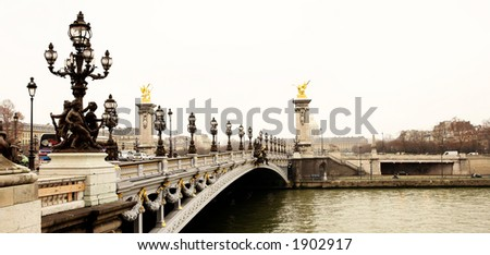 Pont Alexandre III - Bridge in Paris, France.  Movement on cars driving – Gloomy winters day.  High Contrast, Copy space. - stock photo