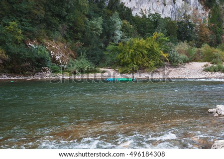 Pont d'Arc, France -September 19, 2016: Kayakers on the river Ardeche in France.