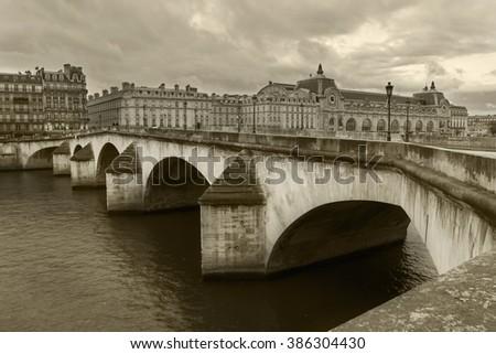 Pont de la Concorde, one of the most famous, old, historic bridge in Paris, France - stock photo