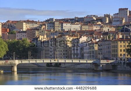 Pont de la Feuillee and Croix Rousse on a summers day in Lyon, France