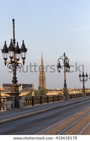 Pont de Pierre Bridge over Gironde River  Bordeaux, France