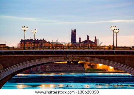 Pont des Catalans bridge at sunrise in Toulouse, southern France - stock photo