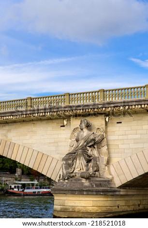 Pont des Invalides from Seine river in Paris - stock photo