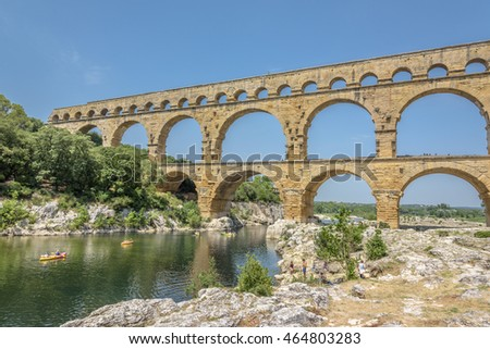 Pont du Gard. Ancient Roman aqueduct that crosses the Gardon River in southern France near Nimes.
