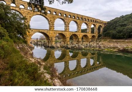 Pont du Gard, ancient Roman aqueduct, UNESCO site in France - stock photo