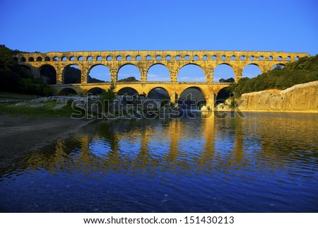 Pont du Gard and river Gardon, Provence, France