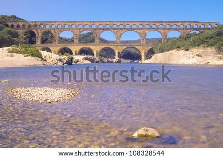 Pont du Gard aqueduct, Nimes, France - stock photo