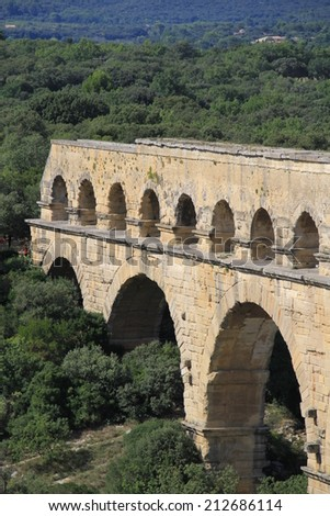 Pont du Gard, famous roman aqueduct in southern France near Nimes.