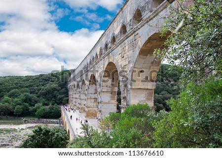 Pont du Gard - Roman aqueduct in southern France near Nimes. - stock photo
