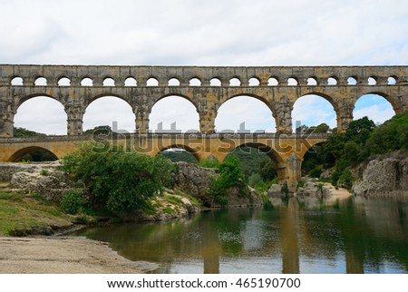PONT DU GARDE, FRANCE - JUNE 16 : Roman aqueduct on 16 June 2016 at Pont du Grad, France. Pont du Gard is one of the best preserved Roman monument in the world.
