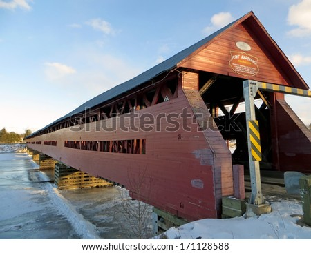 Pont Marchand - Marchand Covered Bridge in Fort Coulonge, Quebec - stock photo