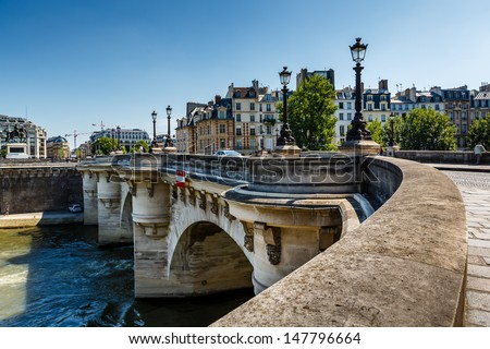 Pont Neuf and Cite Island in Paris, France - stock photo
