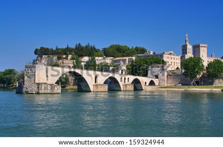 Pont Saint-Benezet in Avignon, France - stock photo