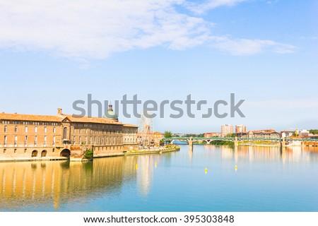 Pont Saint Pierre bridge over the Garonne river, Toulouse, France - stock photo