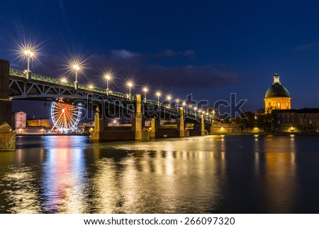 Pont Saint-PIerre with street lanterns at night - stock photo