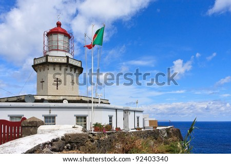 Ponta do Arnel Lighthouse in Nordeste, Sao Miguel, Azores - stock photo
