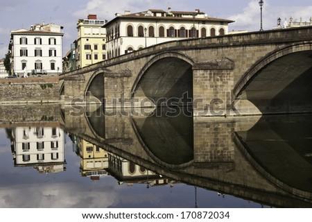 Ponte alla carraia bridge in Florence, Tuscany, Italy. - stock photo