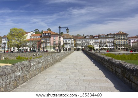 Ponte de Lima, walking away - stock photo