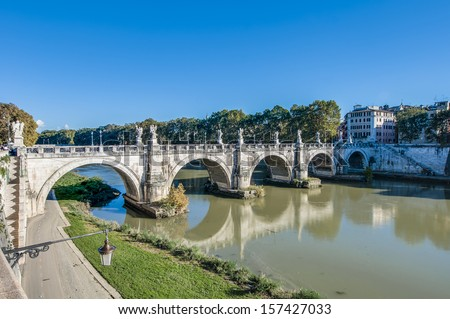 Ponte Sant'Angelo, once the Aelian Bridge or Pons Aelius (Bridge of Hadrian) in Rome, Italy,