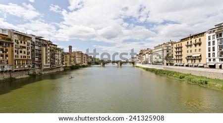 Ponte Santa Trinita medieval Bridge landmark on Arno rive. - stock photo